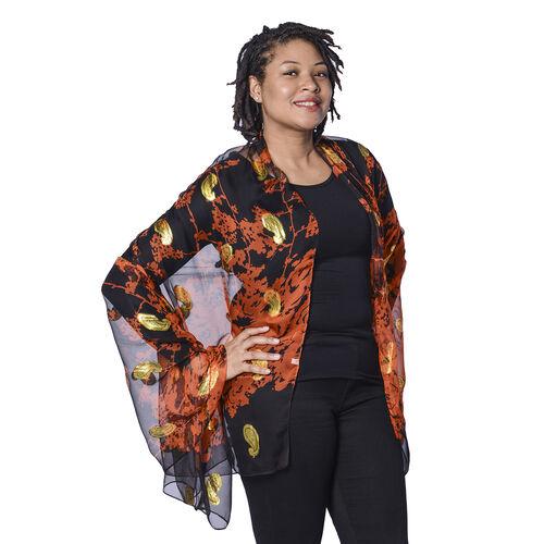 LA MAREY 100% Mulberry Silk Orange Scarf with Golden Embroidery (180x110cm)