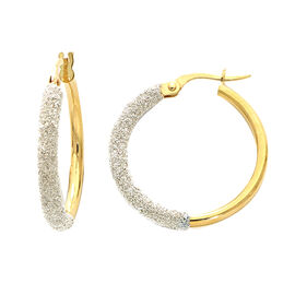 Italian Made - 9K Yellow Gold Simulated Diamond Spritz Hoop Earrings (with Clasp)