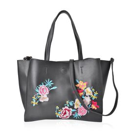 Black with Multi Colour Floral Embroidered Tote Bag with External Zipper Pocket and Shoulder Strap (