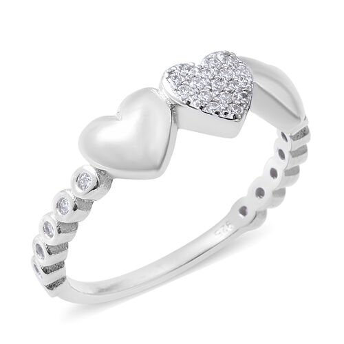 ELANZA Simulated Diamond (Rnd) Heart Ring in Rhodium Overlay Sterling Silver