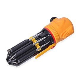 12 in 1 Multifunctional Tool with LED Flash Light - Black and Yellow