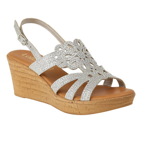 Lotus Silver Glitz Ludisa Wedge Sandals (Size 5)