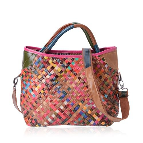 (Option 1) 100% Genuine Leather Multi Colour Woven Pattern Tote Bag with Shoulder Strap (Size 34x29x26x13 Cm)