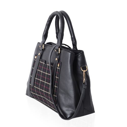 Close Out Deal Black Colour Gingham Pattern Tote Bag with Removable Shoulder Strap (Size 32x24x10 Cm)