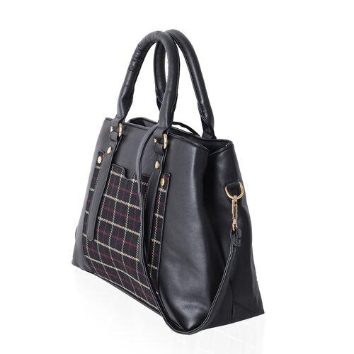 Close Out Deal Black Colour Gingham Pattern Tote Bag with Removable Shoulder Strap (Size 32x24x10 Cm)