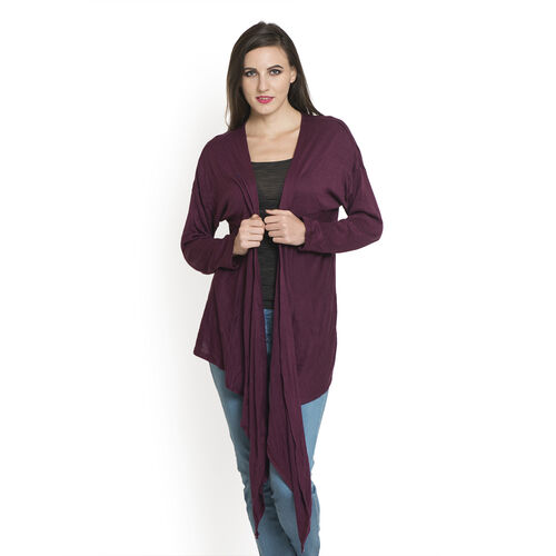 Burgundy Colour Cowl Neck Pattern Cardigan (Size Large / Xtra Large)