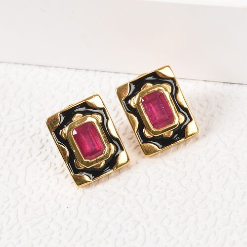 African Ruby Enamelled Stud Earrings (with Push Back) in 14K Gold Overlay Sterling Silver 1.50 Ct.