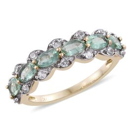 9K Yellow Gold Boyaca Colombian Emerald (Ovl), Natural Cambodian Zircon Ring 1.500 Ct.