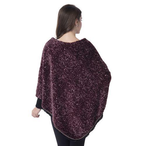 Red Colour Faux Fur Poncho (Size 82x75 Cm)