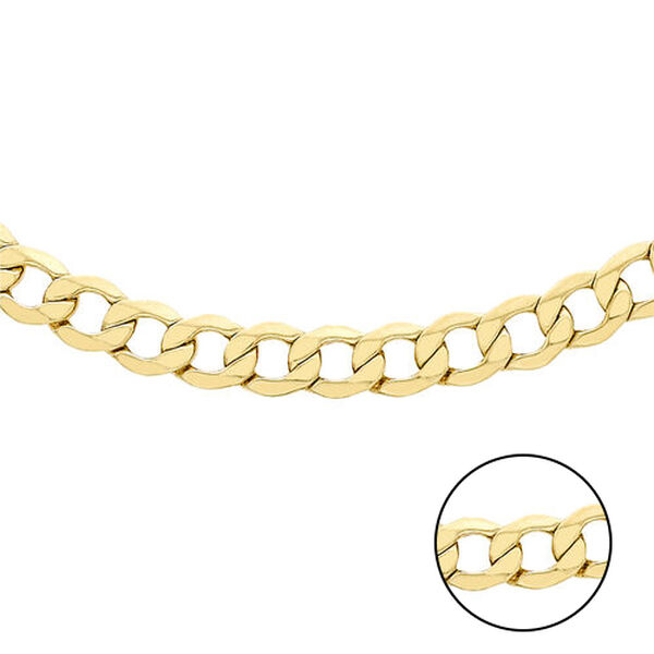 Hatton Garden Close Out 9K Yellow Gold Curb Necklace (Size 18) with Lobster Clasp, Gold wt 5.71 Gms.