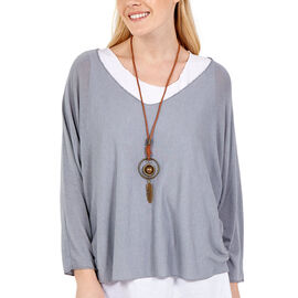 Made in Italy- NOVA of the London Long Sleeve Top in Grey and White Colour (Size up to 16) with Neck