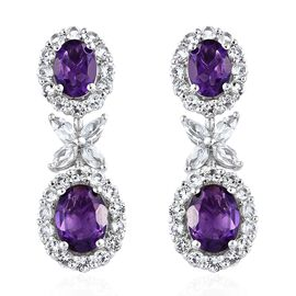 Lusaka Amethyst (Ovl), White Topaz Floral Earrings (with Push Back) in Platinum Overlay Sterling Silver 6.750 Ct. Silver wt 5.33 Gms.