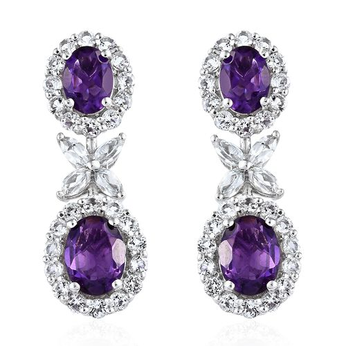 Lusaka Amethyst (Ovl), White Topaz Floral Earrings (with Push Back) in Platinum Overlay Sterling Sil