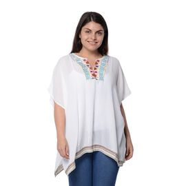 White Colour Top with Embroidery Collar and Small Tassel (Size 68.5X73.6cm)