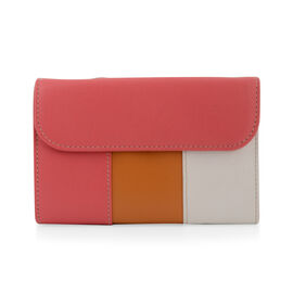 Close Out Deal - 100% Genuine Leather Wallet with Multi Compartments- Fuchsia and white