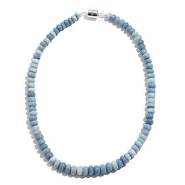 200 Carat Peruvian Blue Opal Beaded Necklace in Rhodium Plated Silver with magnetic Clasp 18 Inch