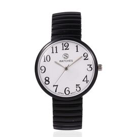STRADA Japanese Movement Water Resistant Stretchable Watch with Black Strap