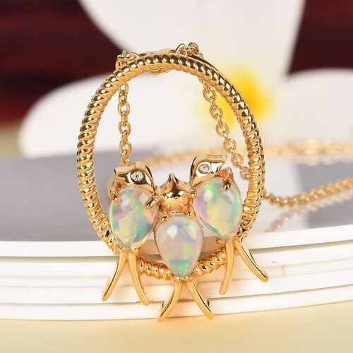 Ethiopian Welo Opal (Pear), Natural Cambodian Zircon Birds and Circle Pendant With Chain in 14K Gold Overlay Sterling Silver 1.500 Ct, Silver wt 7.00 Gms.