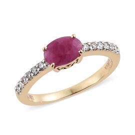 ILIANA 18K Yellow Gold AAA Burmese Ruby (Ovl 0.85 Ct) Diamond (SI/G-H) Ring 1.000 Ct.