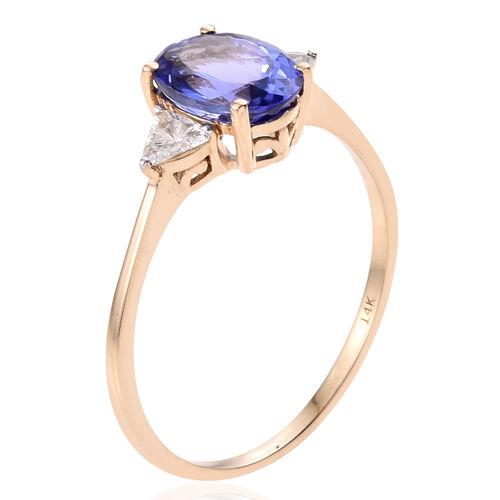 14K Yellow Gold AA Tanzanite (Ovl 2.25 Ct), Diamond (I2/G-H) Ring 2.500 Ct.