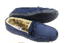 Close Out Deal Moccasin Loafers in Navy Blue with Faux Fur Lining (Size 8)