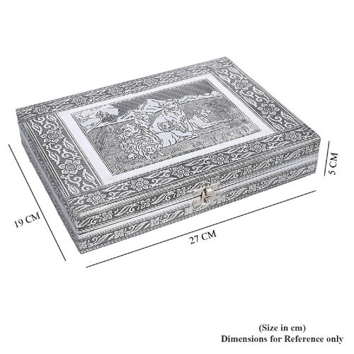 Close Out Deal- Teak Wood Lion Family Hand Crafted Aluminium Embossed 100 - Ring Box