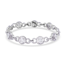NY Close Out Deal - 14K White Gold Diamond (SI/GH) Bracelet (Size-7 to 7.5) 4.15 Ct, Gold wt 13.63 G